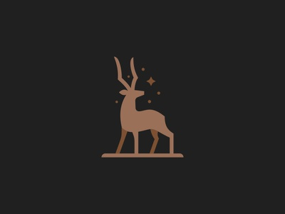 Antelope africa wildlife nature stars modern simple minimal elegant grace logo animal impala gazelle antelope