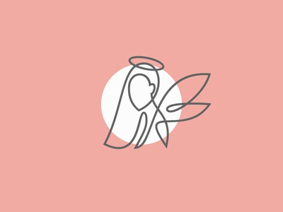 angel wings halo angel woman girl female beauty fashion monoline simple minimal illustration logo lineart line