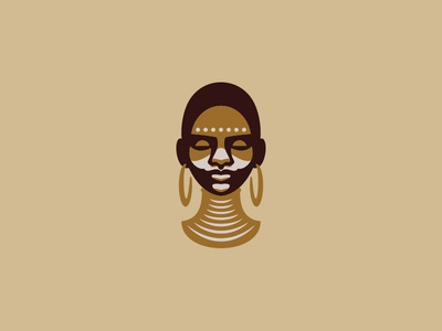 African woman simple minimal illustration character girl people ethnic logo black portrait face woman tribe african