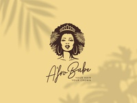 A fro Babe natural crown character logo beauty cosmetics haircare hair woman african afro