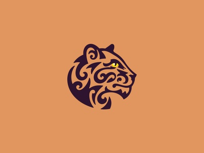Panthera strong elegant wild cat leopard jaguar panther animal character minimal illustration logo