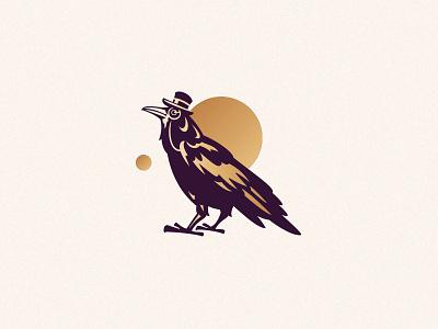 Mr Crow portrait monocle top hat gentleman crow animal character illustration logo