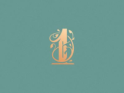 Number 1 logo design vector design challenge lettering typography monogram victorian ornamental decorative minimal floral number 1 number 36daysoftype08 36daysoftype