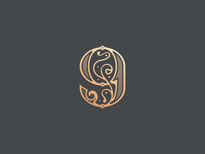Number 9 ornamental design monogram vector logo decorative nine typography lettering art lettering design challenge number 9 36daysoftype08 36daysoftype