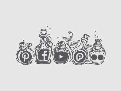 Social Media Icons bottle potion flickr pluckr youtube facebook pintrest icons media social