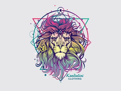 Neon Lion psychedelic sacred-geometry mystic animal colorful geometric neon illustration t-shirt lion