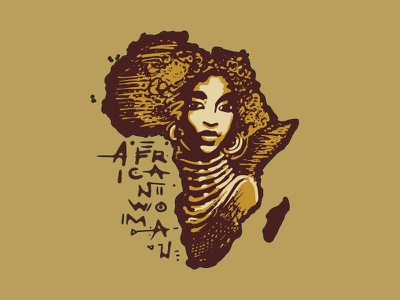 African Woman tshirt illustration gold silhouette continent girl woman african africa