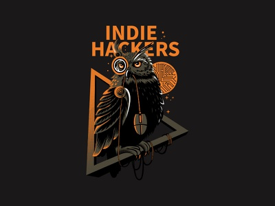 Indie Hackers design 4 color illustration animal mouse hacker owl t shirt