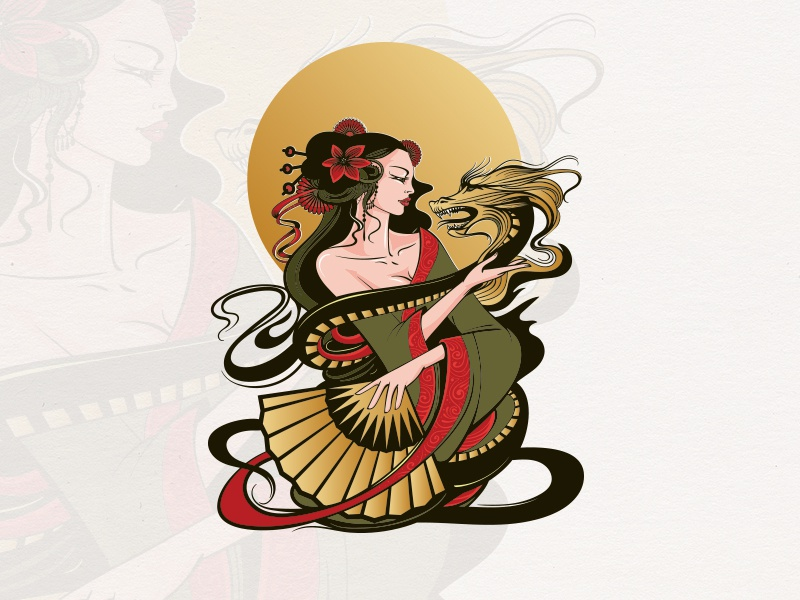 Geisha tea japanese girl dragon geisha character illustration