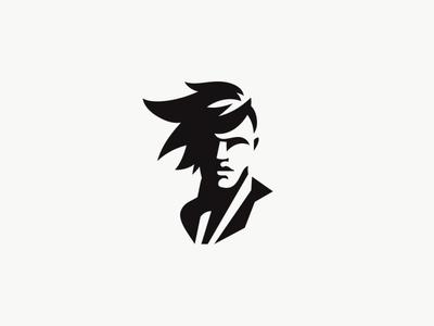 Male portrait fashion barber male portrait vector design character simple minimal logo illustration