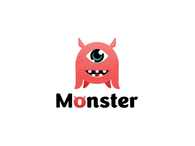 monster playful fun happy cute typography design vector logo illustration character monster