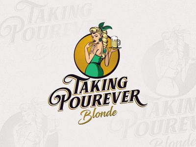 Taking Pourever Blonde drink gold green character illustration beer branding light retro beverages brewery logo blonde beer pinup pinup girl