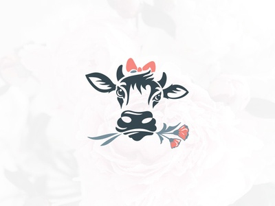 Moo flower shop available design character illustration minimal simple negative space animal cow farm floral logo