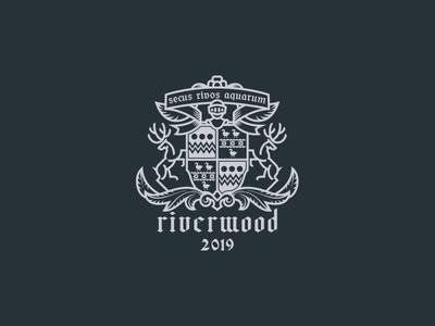 Riverwood simplified minimal medieval modern deers shield coat of arms crest family logo