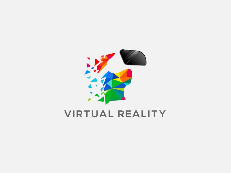 VR Logo business app design internet tech logo vr reality virtual