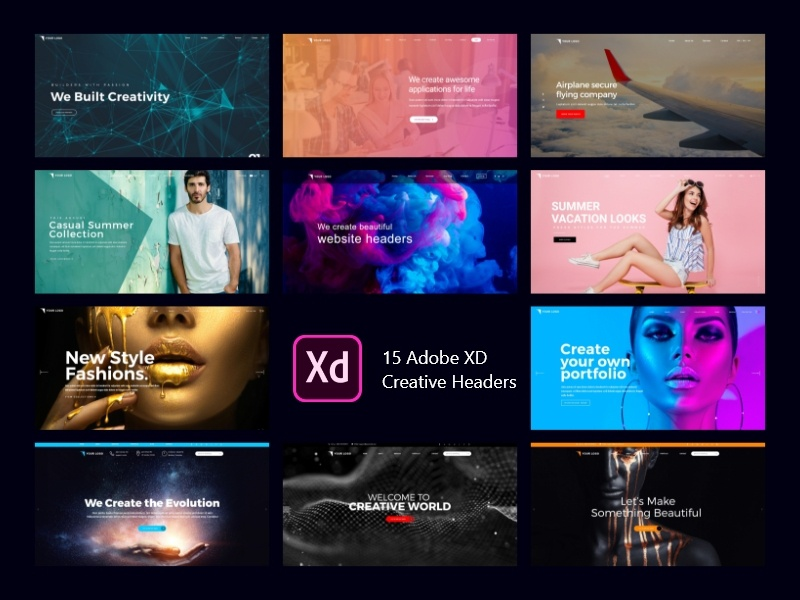 Adobe XD Creative Headders design ui development mobile strong business app