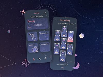 Astrology & Tarot UI Concept astrological horoscopes tarot deck tarot card fantasy space mystical tarot horoscope astrology typography ux vector mobile ui ui illustration illustration art ios design app