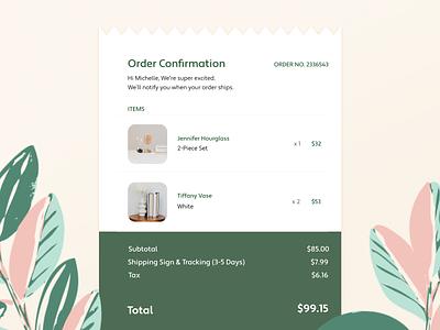 DailyUI 17: Receipt shopping app vector concept branding illustration ui screens confirmation order ecommerce shopping web website design webdesign website
