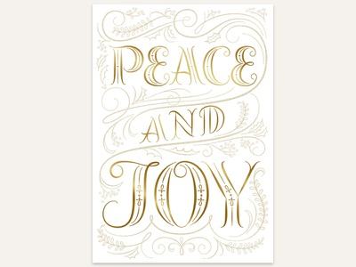 Peace & Joy holiday greeting cards product design typography lettering