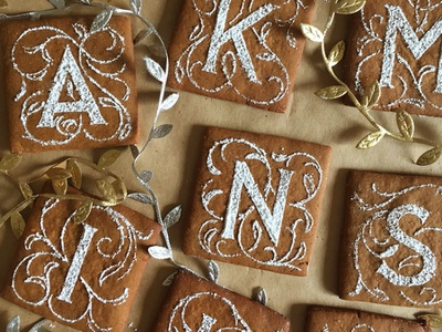 Illuminated Alphabet Cookies typography cookies food styling lettering