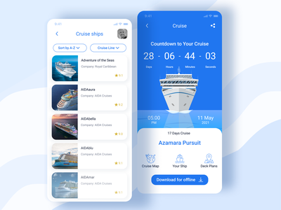 Cruise Booking App onboarding ui lists cruise ship illustrator ui design flat mobile ui mobile booking cruise app illustration ux ui design