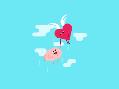 Feeling & Thinking wings clouds sky fly brain heart thinking feeling flat character character design flat illustration vector illustration graphic illustrator graphic illustration flat design flat design