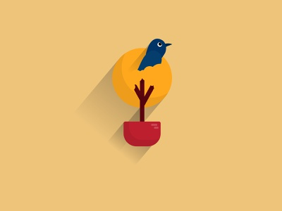The Sun sun minimal sparrow tree flat illustration graphic illustration vector illustration flat design flat design