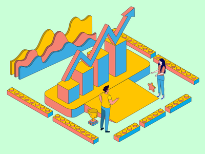 Growth illustrator illustration art illustrations art design winning statistics growing growth isometric illustration isometric design illustration isometric
