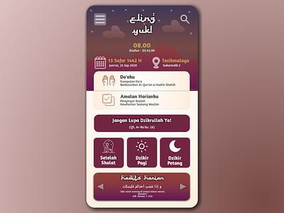 Eling Yuk Moslem App! dhikr moslem mobile app ui design moslem mobile ui mobile app design mobile app islamic design islamic art islamicart islamic design app