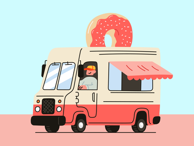 Donut trucks and highway doodles branding logo design illustrator illustrations/ui ui illustration design ux illustrations illustration