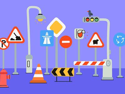 Street signs, lamp posts, stop lights branding logo design illustrator illustrations/ui illustration design ux illustrations ui illustration
