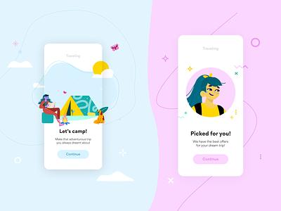 Travel UI with Nomads branding logo design illustrator illustrations/ui illustration design ux ui illustrations illustration