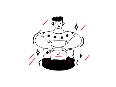 The Boy monochrome black concept lined character vector minimal flat illustration design art