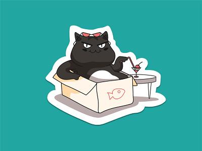 "Teddi ""The Evil"" - Chill mode activated! glasses kitty cool design logo character vector illustration sticker cat chill box art"