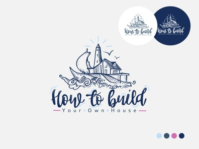 How to build Your Own House presentation colors background doodle lined flat vector branding logo illustration design art