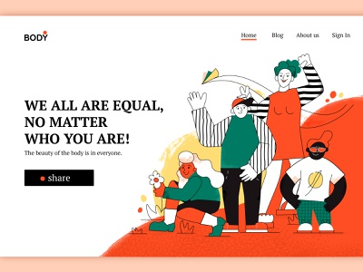 We all are equal colorful cartoon positive body people creative background concept lined flat character vector illustration design art