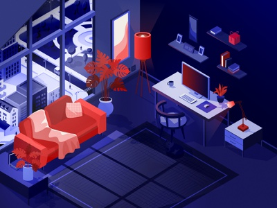 Charmy and cozy workspace isometric illustration illustration art poster artwork night digital 3d workspace isometric sofa cat creative background concept vector illustration design art