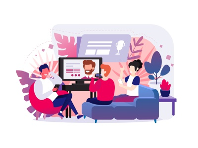 Streaming & Quiz background people tv cozy quiz streaming concept character vector illustration design art