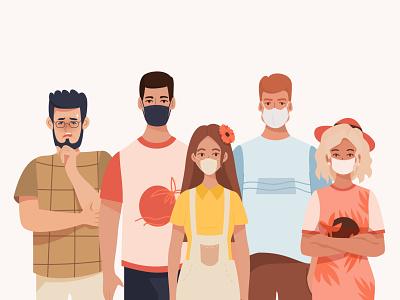 Good and bad behavior behavior positive mask covid creative minimal people flat concept character vector illustration