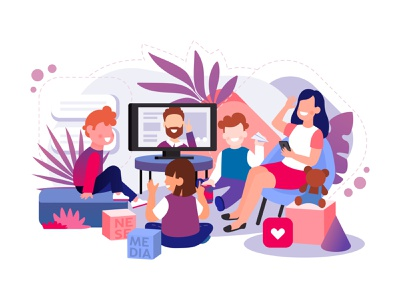 Children and Streaming creative background people minimal flat concept character vector art illustration