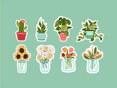 House Plants minimal flat badge creative concept logo sticker stickers design art vector illustration