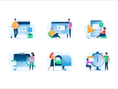 Illustrations for Shiftbase company icons time trakning human picture graphic design branding ui flat concept character design art vector illustration