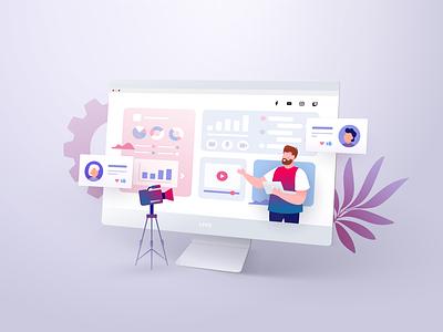 Illustration for NeseMedia Company filming streaming 3d flat screen mockup concept character design art vector illustration