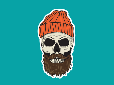 Hipster Skull 01 sticker beard beanie spooky halloween skull vector illustration design
