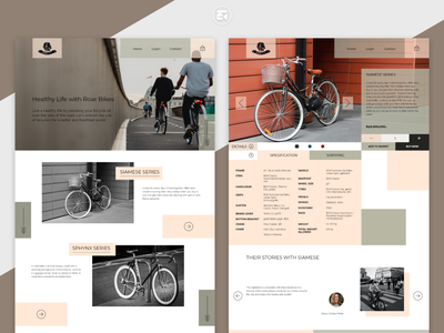 Roar Bikes - Website Design minimal product product page homepage bicycle shop web ui ecommerce design