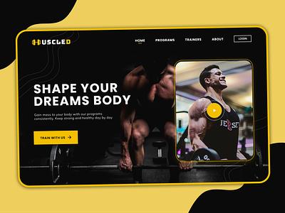 MUSCLED - Fitness Club Landing Page web design black dark yellow page landing website fitness club landingpage design ui