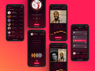 Loud.ly Music Streaming & Karaoke Apps minimal interface app gradient figma design uidesign inspiration dailyui red dark sing karaoke music ios android apps mobile ux ui