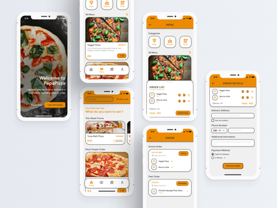 Pizza Shop Delivery App clean minimal orange interface inspiration ux ui android ios apps mobile shop order challenge delivery pizza food figma design dailyui