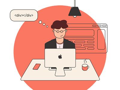 Programmer Illustration vector coding front-end code work inspiration programming programmer illustration illustrator design