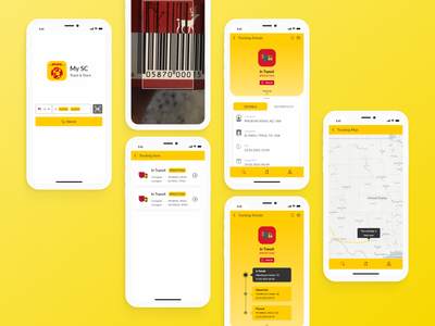 DHL MySC Track & Trace App Redesign uidesign yellow android apps logistic delivery package tracing tracking shipment ios ux mobile interface adobe xd dailyui inspiration redesign ui design